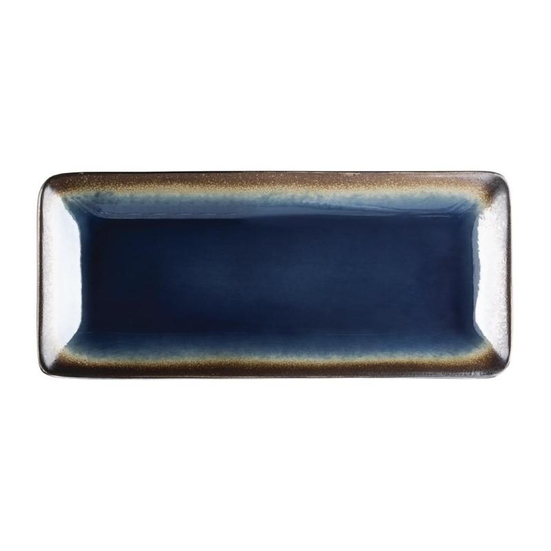 Assiettes à tapas rectangulaires bleues 245mm Lot de 6