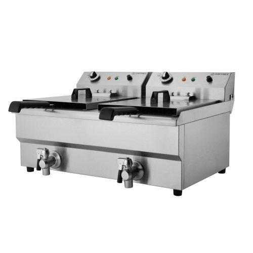 Friteuse électrique double - 2 x 10 L - Robinet de vidange