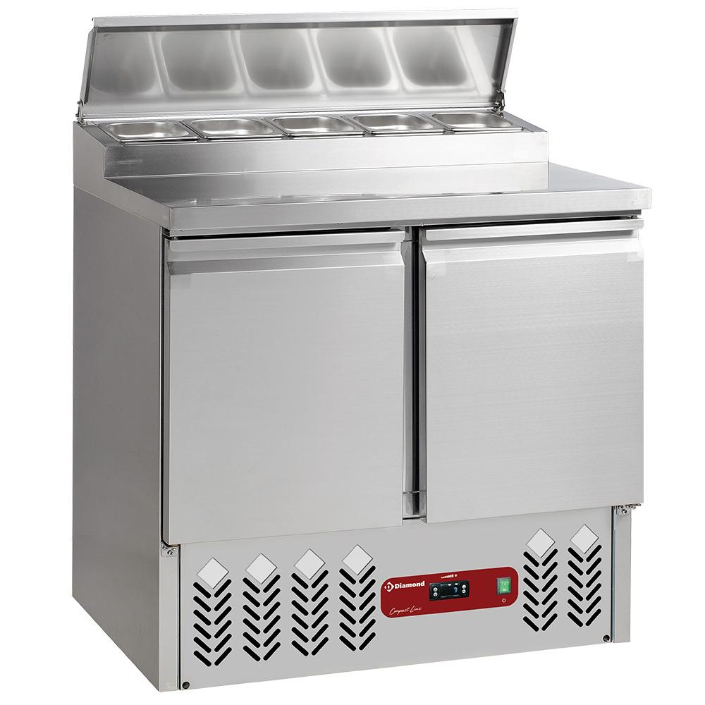 Saladette frigorifique 2 portes GN 1/1, 230 Lit + structure réfrigérée 5x GN1/6-150 mm