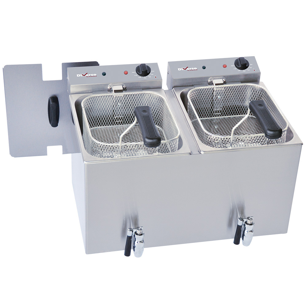 Friteuse de table électrique 2x 8 litres + robinet de vidange