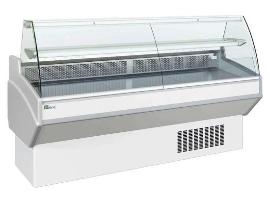 Comptoir d'exposition avec vitrage bombé - Froid statique