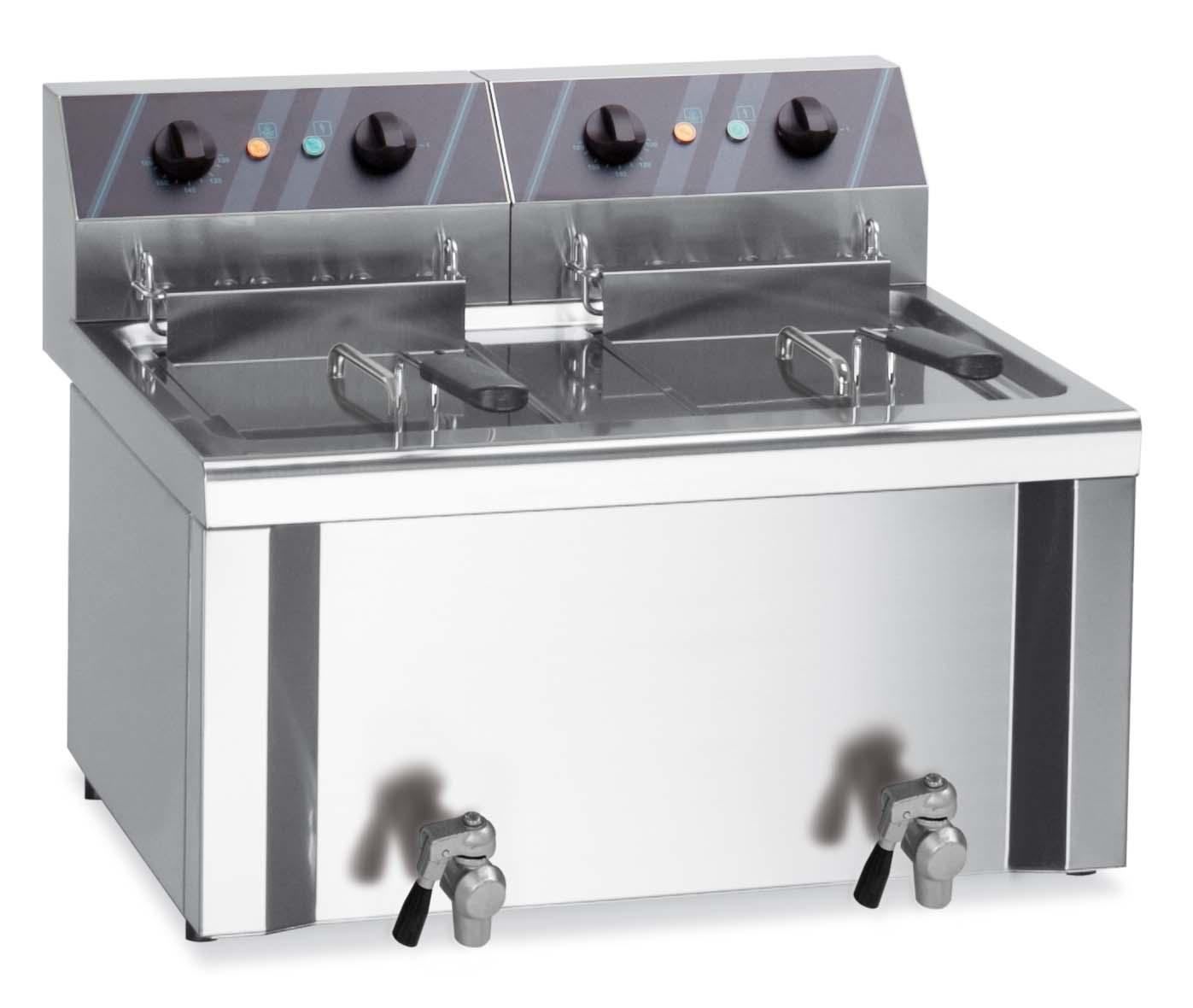 Friteuse de table électrique 2x  12 litres + robinet de vidange