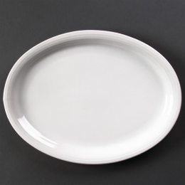 Assiette ovale Linear 295mm Olympia - Lot de 6