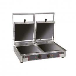 Grill vitrocéramique électrique double - Plaques inf. lisse et sup. rainurée - Sofraca
