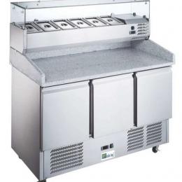 Saladette réfrigérée - série éco -3 portes -avec vitrine