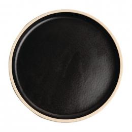 Assiettes plates bord droit noir mat 18 cm Lot de 6